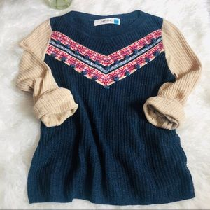 Sparrow {Anthro} chevron  knit pom pom sweater Med